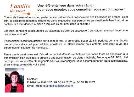 Référente APF, legs,Occitanie